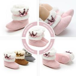 1Pair Baby Adorable Plush Soft Snow Boots Toddlers Warm Wint