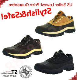 4'' Winter Snow Boots Mens Work Boots Short Waterproof Leath