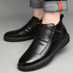 Fashion Men's Genuine Leather Oxfords High Top Shoes Winter