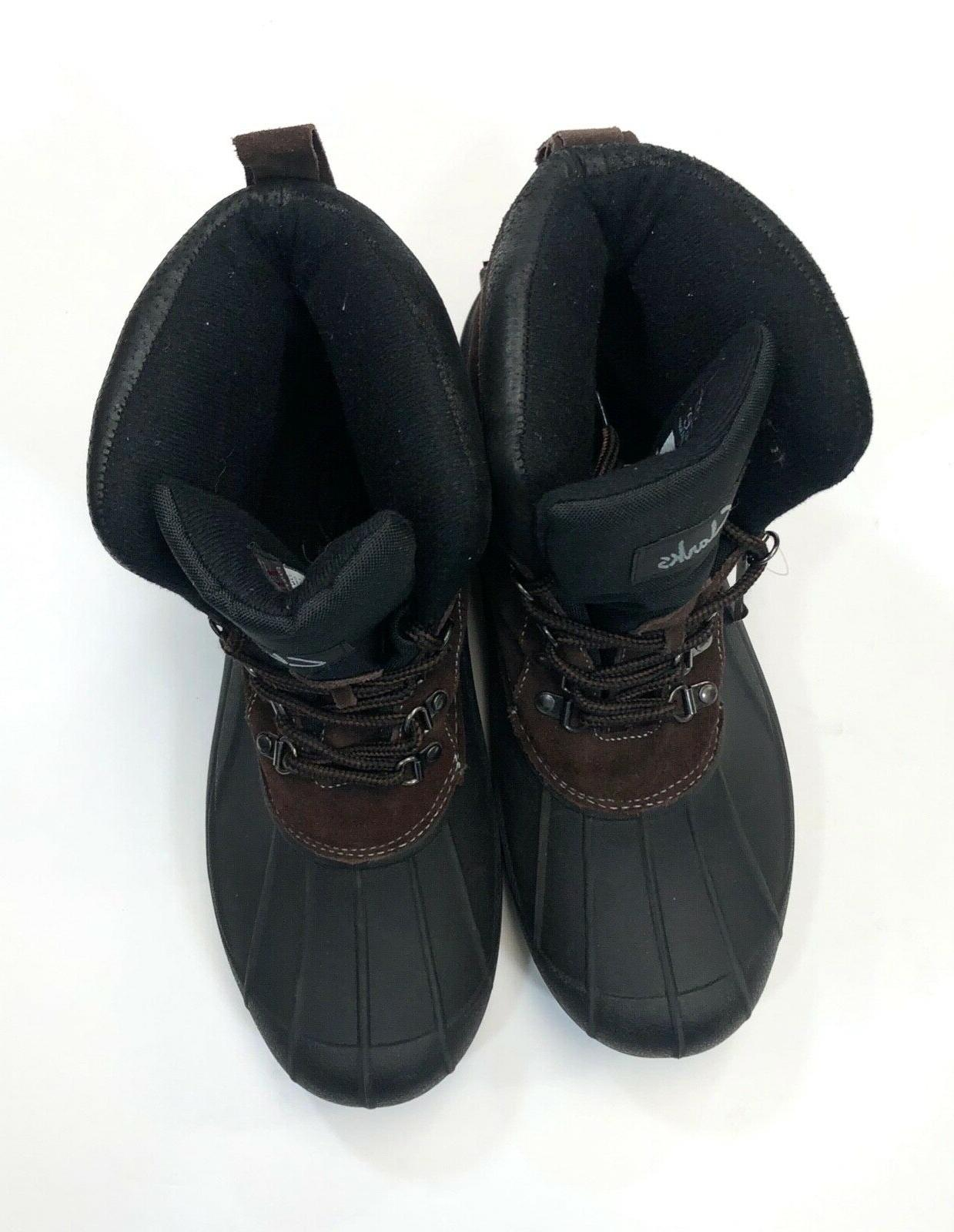 Clarks Insulated Leather Winter Snow Boots Mens 12