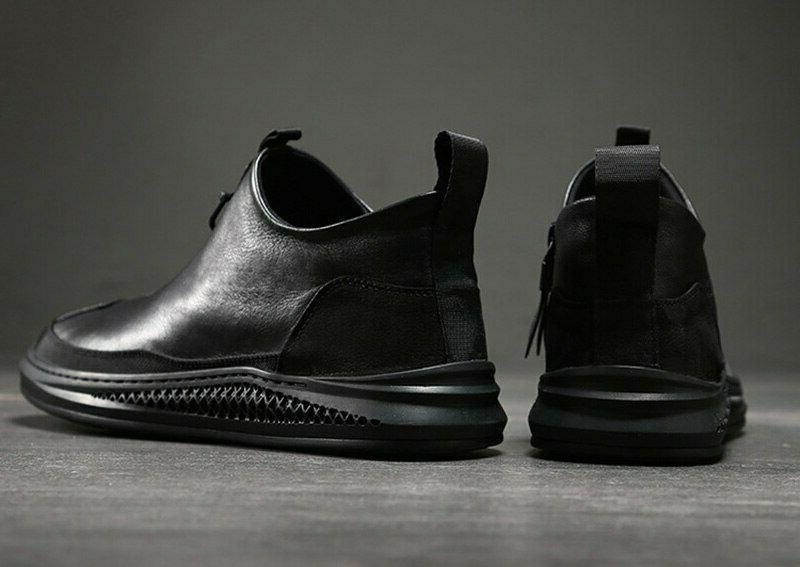 Fashion Ankle Boots Male Round Toe Zip Shoes