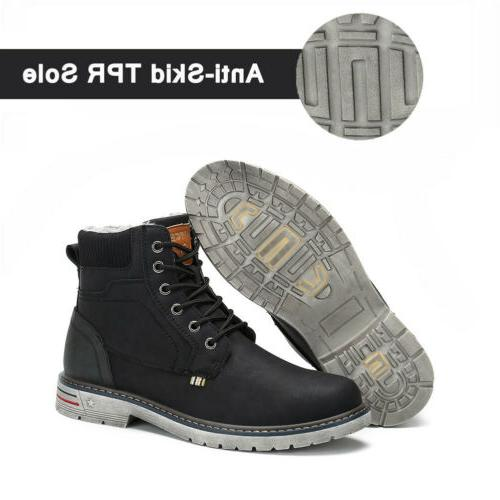 Men Women Anti-skid Fur-Lined Lace Up Shoes Winter F56