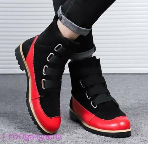 Mens Flats shoes Round toe Match Winter boots NEW