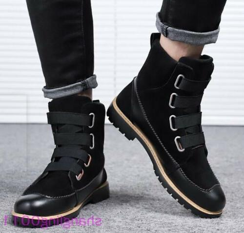 Mens Flats shoes toe Furry Ankle boots