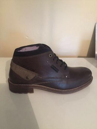 mens lace up leather dark grey winter