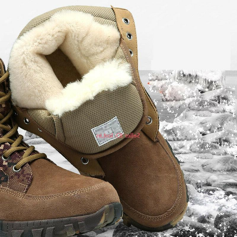 Mens Genuine Cowhide Wool Boots Hiking Warm Boot Shoes
