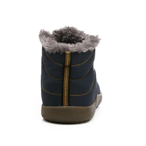 Mens Winter Snow Boots Ankle Lined Shoes Waterproof