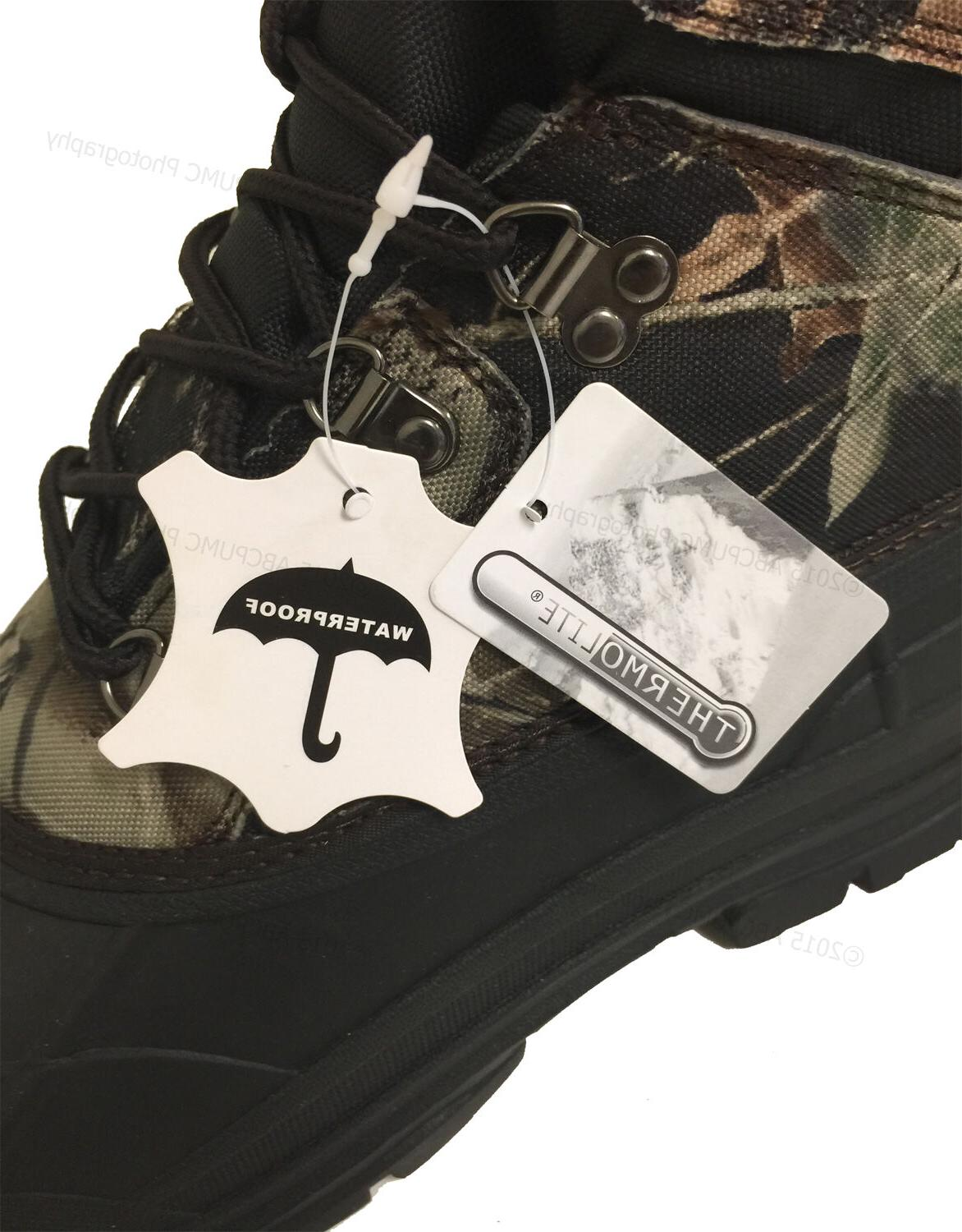 Mens Boots Camouflage Waterproof Insulated Hunting Thermolite Shoes
