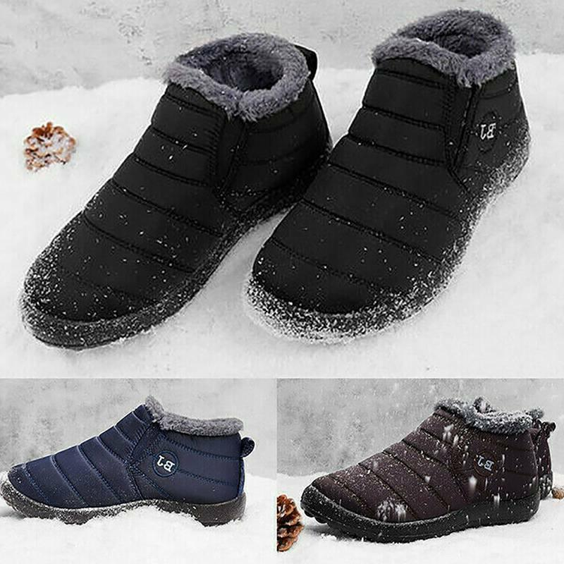 Mens Winter Boots Waterproof Plush Thickening Outdoor Shoes