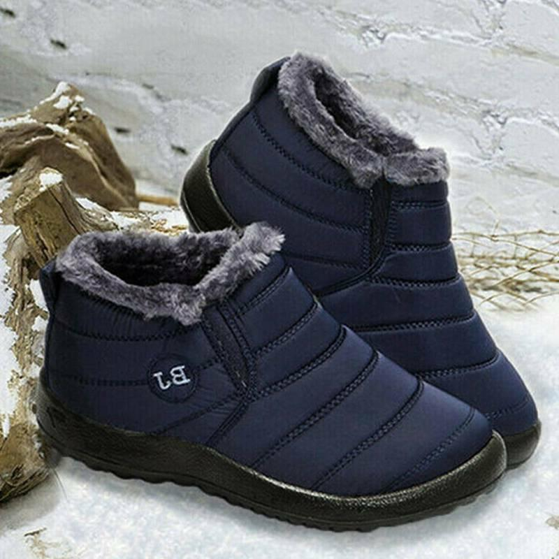 Mens Snow Boots Waterproof Plush Lining Thickening Outdoor Shoes
