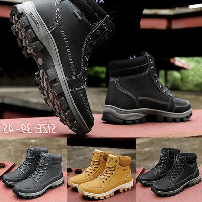 New Mens Work Snow Lined Shoes Waterproof Hiking