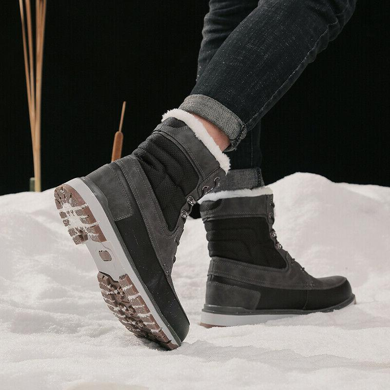 Plus Fur Lined Winter Boots Cargo Color Anti-skid Shoes