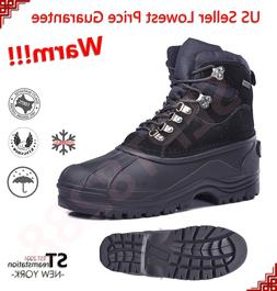 Men's Black Winter Insulated Snow Boots Shoes Leather Waterp