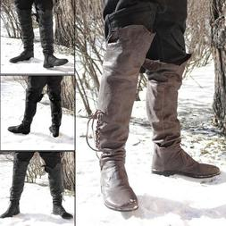 Men's High Knee Low Block Heel Winter Hunting Boots Lace Up