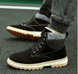men s high top color matching suede