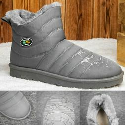 MENS ANKLE BOOTS WINTER WARM SNOW BOOTS WATERPROOF FUR LINED