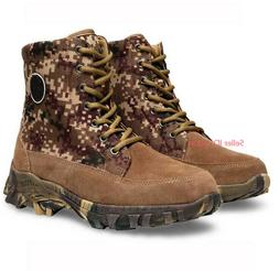 Mens Winter Genuine Cowhide Wool Boots Camo Climbing Hiking