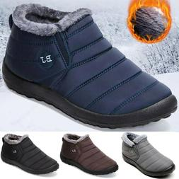 mens winter snow boots waterproof plush lining