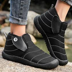 Mens Winter Warm Snow Ankle Boots Casual Fur Lined Waterproo