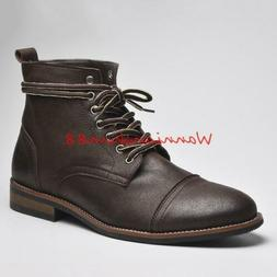 Retro Mens Winter Lace up Ankle Boots British Style Low heel