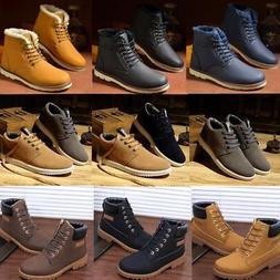Winter Men Ankle   Boots Leather Shoes Fur Lined Casual High