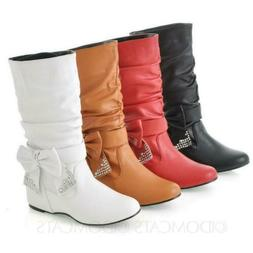 Womens Mens mid calf Boots Diamante Bow faux leather Plus Si
